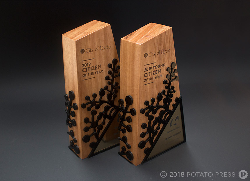 city of ryde australia day trophy citizen award timber acrylic laser etching cutting