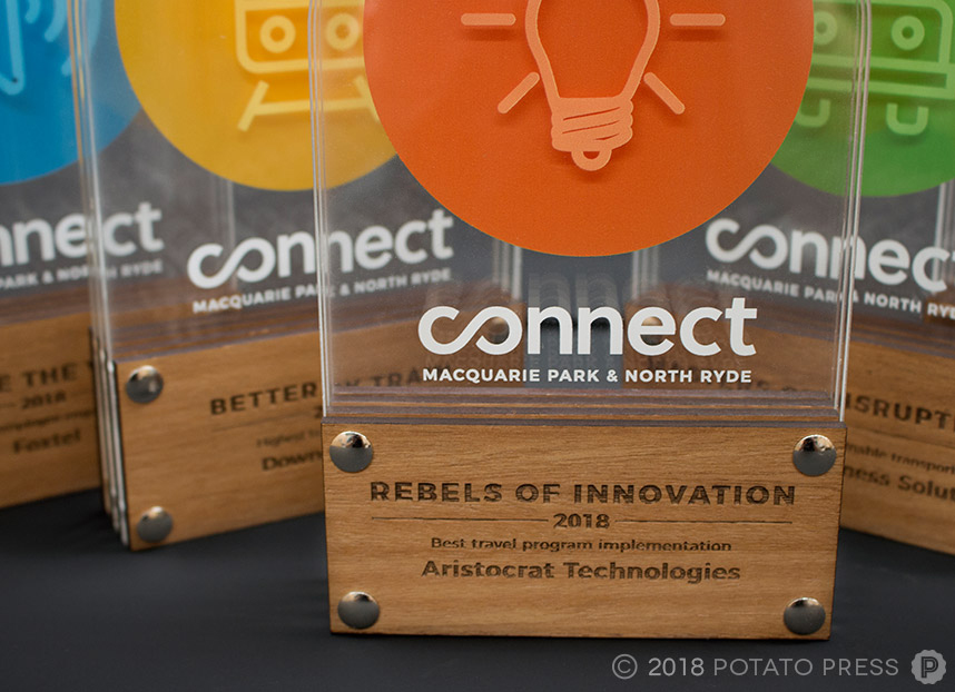 connect timber acrylic layered awards trophy